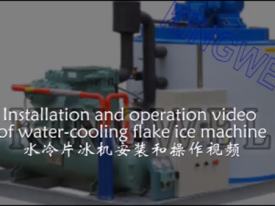 Installation and operation of water-cooling flake ice machine