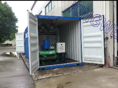 Video of Kingwell 2tons/day containerized block ice machine with cold room